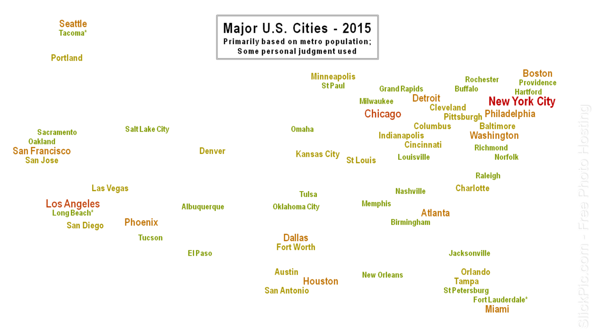 Map Usa With Major Cities Allotherplacesorg USA States And - Us map largest cities