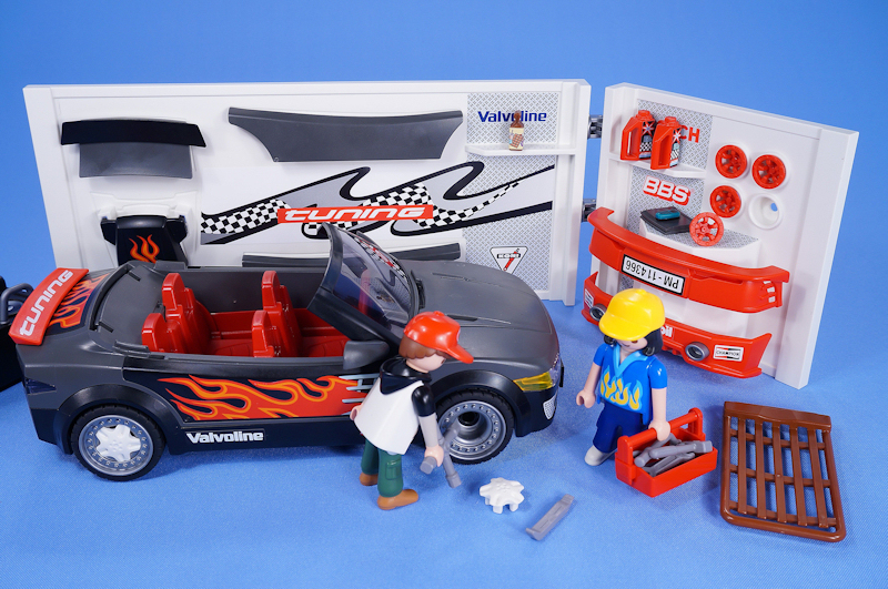 playmobil racing custom sports car with sounds plus garage boxed complete 4366 ebay. Black Bedroom Furniture Sets. Home Design Ideas