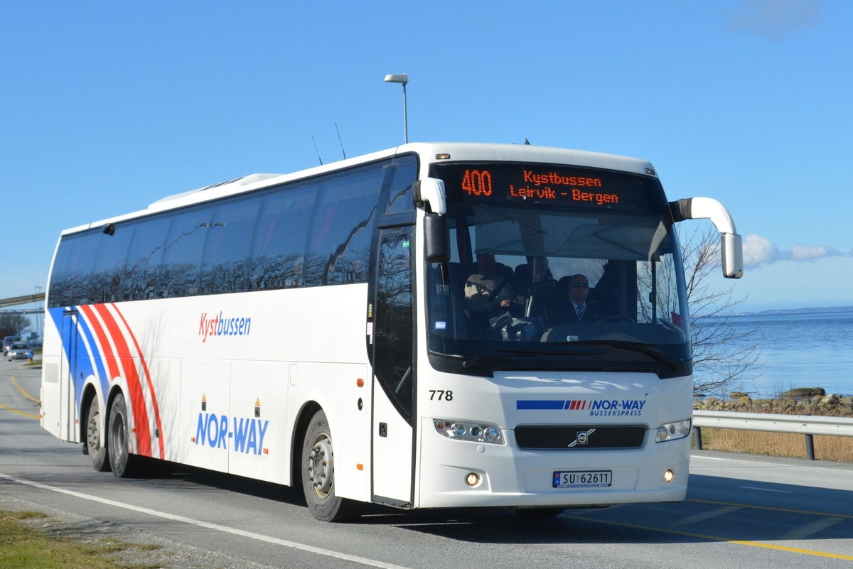 A few Norwegian buses on E39 at Sokn