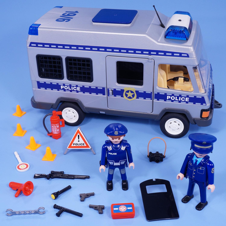 PLAYMOBIL POLICE VAN WITH FLASHING LIGHTS FIGURES AND ...