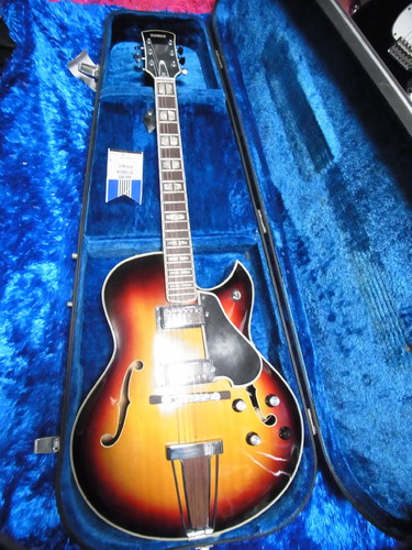 vintage yamaha ae 11 ae11 hollow body electric guitar w case japan 11 6. Black Bedroom Furniture Sets. Home Design Ideas