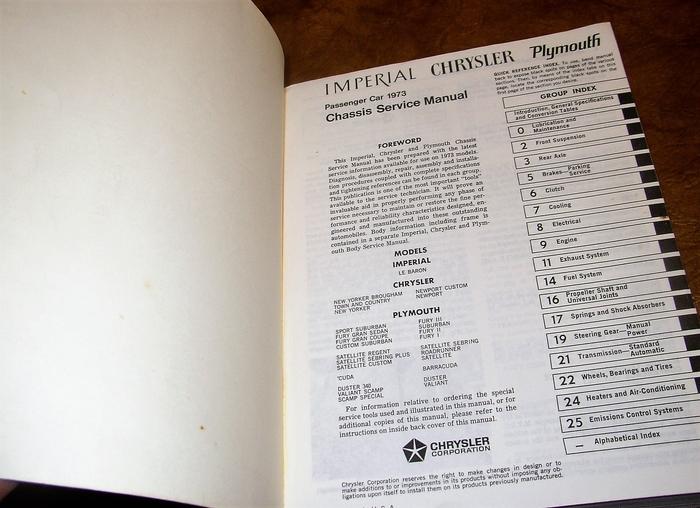 1973 Plymouth Chrysler Shop Manual Original Chassis