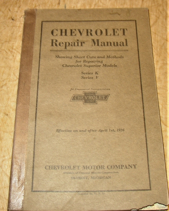 OEM Repair Maintenance Parts Book Bound for Chevrolet Car /& Truck 1916-1928
