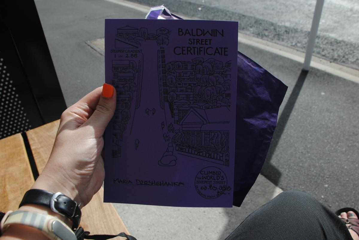 Got my certificate for climbing Baldwin Street :)
